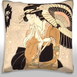 Custom Photo Factory - Geisha Color Moon Pillow.  Polyester Velour Throw Pillow - Geisha Color Moon Pillow. 18 Inches x 18  Inches.  Made in Los Angeles, CA, Set includes: One (1) pillow. Pattern: Full color dye sublimation art print. Cover closure: Concealed zipper. Cover materials: 100-percent polyester velour. Fill materials: Non-allergenic 100-percent polyester. Pillow shape: Square. Dimensions: 18.45 inches wide x 18.45 inches long. Care instructions: Machine washable