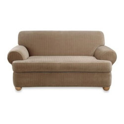 Sure Fit - Sure Fit Stretch Pinstripe 2-Piece T-Cushion Sofa Slipcover - Let this Sure Fit slipcover's fresh style breathe new life into a dull or out-of-date sofa. Its subtle stripes create balance and the 2-piece separate seat allows a custom look. Easy to use stretch cover is a perfect solution for hard-to-fit furniture.