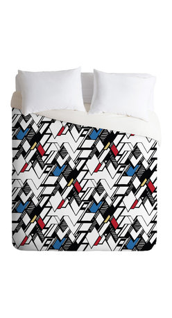Karen Harris Taliesin Multi King Duvet Cover - Wake up your bedroom with this action-packed, graphic style duvet cover print. Like a comic book with bold contrasts, sharp lines and 3-D shading, the geometric pattern is full of zigzag swagger, balanced by selective coloring to create a feeling of openness. Match it with a few simple, modern furniture pieces and you'll be set.