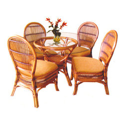 Beachcraft - Tropical Safari 6 Pc. Rattan and Wicker Dining Set - The Safari Antique collection is a beautiful and handsomely designed collection.