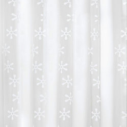 Contemporary PVC Free Shower Curtain - Viva - Get clean with a healthy dose of cool in this shower curtain. With a field of white retro flowers against a frosted background, it's made from a material free of PVCs. To clean, just hand wash with soap and water and hang dry.