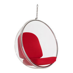"LexMod - Ring Lounge Chair in Red - Ring Lounge Chair in Red - Gladden the everyday with the transparent Ring Chair. Your experience of space will never be the same as you let brilliant reality shine in all directions. Gently unite the prism of light and life as you sit elevated amongst a plane of renewal and rejoicing. Set Includes: One - Ring Chair One - Ring Chair Chain Clear Acrylic, Steel Rim, Vinyl Cushion, Weight Capacity: 300lbs, 8 ft Ceiling Chain Included, Stand Not Included Overall Product Dimensions: 41.5""L x 31.5""W x 43""H - Mid Century Modern Furniture."