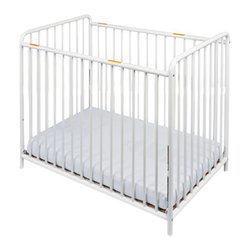 "Foundations - Foundations Baby Bedding Accessory Chelsea Slatted Crib No Casters White - The Chelsea Crib offers outstanding quality at a price you can afford. 360 deg welding process ensures long-lasting strength. Nonporous, easy-to-clean powder-coated finish. The durability of steel ensures your investment will last. Reinforced mattress board adjusts to two heights. Duraloft heavy-duty 3"" mattress."