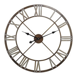 Sterling Lighting - Sterling Lighting Open Center Iron Wall Clock - This wall clock features an open center with Roman numerals in relief around the edge allowing the background color of the wall behind to show through.