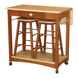 Chelsea Home Furniture - Chelsea Home Sunny Server with Barstools in Maple and Cherry - The Sunny Server features a drop leaf table extension and bar stool storage. Once the sturdy drop leaf is locked in place, the server space is increased by 10 inches to provide room for your guests to enjoy a beverage! Towel bars are located on both ends to provide extra functionality and a stylish design accent. The server sits on four locking caster wheels so it will only move when you want it to. Chelsea Home Furniture proudly offers handcrafted American made heirloom quality furniture, custom made for you. What makes heirloom quality furniture? It's knowing how to turn a house into a home. It's clean lines, ingenuity and impeccable construction derived from solid woods, not veneers or printed finishes over composites or wood products _ the best nature has to offer. It's creating memories. It's ensuring the furniture you buy today will still be the same 100 years from now! Every piece of furniture in our collection is built by expert furniture artisans with a standard of superiority that is unmatched by mass-produced composite materials imported from Asia or produced domestically. This rare standard is evident through our use of the finest materials available, such as locally grown hardwoods of many varieties, and pine, which make our products durable and long lasting. Many pieces are signed by the craftsman that produces them, as these artisans are proud of the work they do! These American made pieces are built with mastery, using mortise-and-tenon joints that have been used by woodworkers for thousands of years. In addition, our craftsmen use tongue-in-groove construction, and screws instead of nails during assembly and dovetailing _both painstaking techniques that are hard to come by in today's marketplace. And with a wide array of stains available, you can create an original piece of furniture that not only matches your living space, but your personality. So adorn your home with a piece of furniture that will be future history, an investment that will last a lifetime.