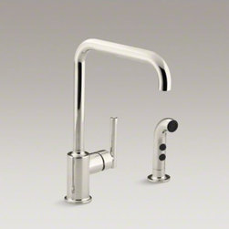 """KOHLER - KOHLER Purist(R) two-hole kitchen sink faucet with 8"""" spout and matching finish - Designed to accommodate extra-thick counters, this Purist kitchen faucet combines a strong architectural form and simple-to-use features. The high-arch swing spout maneuvers easily around large cookware, while the sidespray reaches down into the sink for"""
