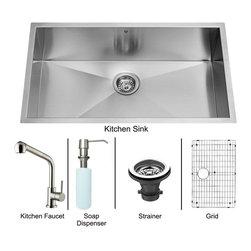 """Vigo - Vigo All in One 30 Undermount Kitchen Sink and Faucet Set (VG15248) - Vigo VG15248 All in One 30"""" Undermount Kitchen Sink and Faucet Set, Stainless Steel"""