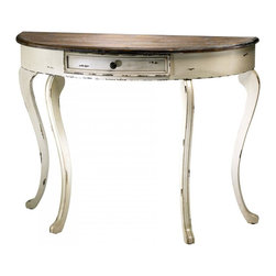 "Joshua Marshal - Distressed White and Gray 32.5"" Abelard Console Table - Distressed White and Gray 32.5"" Abelard Console Table"