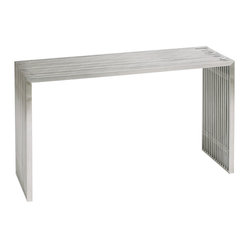 Nuevo Living - Amici Console Table - Complete your favorite modern setting with this strong yet simple piece. Made of brushed stainless steel with acrylic spacers, it looks great in a hall, against a wall or as a buffet.