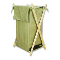 "Trend Lab - Hamper Set - Avocado Ultrasuede - Trend Lab's Avocado Ultrasuede Hamper is a decorative solution for quick clean up in your nursery, bathroom or laundry room. The avocado green ultrasuede body and outer flap easily attaches to the collapsible pine wood frame. Machine washable inner mesh liner is removable making the transport of laundry effortless. Assembled hamper measures 27"" x 15"" x 15""."