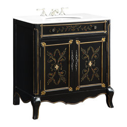 """Benton Collection - 32"""" White Marble Top, Hand Painted Decoroso Bathroom Sink Vanity - Hf2326 - Dimensions: 32.5 x 20.25 x 34.5""""H  approx."""