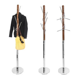 Lumisource - Hang It Coat Tree - Light Walnut, Chrome - Includes 1 coat rack. This unique coat rack offers a modern look of wood and chrome that creates a functional storage piece and a great way to hang your belongings. The hooks can double as hangers for your outerwear and are also interchangeable for easy use.. 13.25 in. Diam. x 73.5 in. H