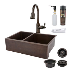 "Premier Copper Products - 33"" Kitchen Apron 40/60 Sink w/ ORB Faucet - PACKAGE INCLUDES:"