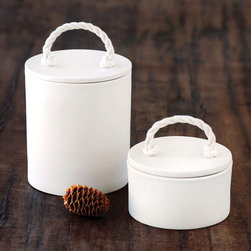 Small Rope Canister by Pigeon Toe Ceramics - Medicine bottles and hair elastics like nice spots to hang out too. I think these simple white canisters would look at home in the kitchen or in the bathroom.