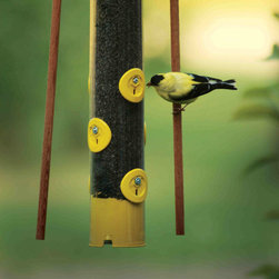 PineBush - 18 inch Finch Feeder with Dowels (Yellow) - PineBush Tube Feeders are manufactured with precision molds for die cast construction. Perches and seed ports are precisely die formed for a consistent fit. Metal seed ports are securely bolted to the seed tube. Poly tubes are formed using a break