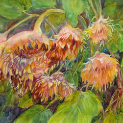 Sunkissed (Original) by Sandy Bennett - Past their prime sunflowers need love too. Add a beautiful evening glow of the sun and they become stars in the garden. Would be striking when matted and framed under glass.