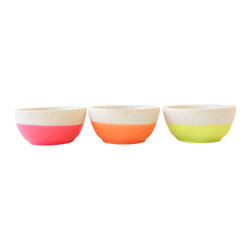 Wind & Willow Home - Neon Mini Bowls (Set of 3) - Wind & Willow's set of 3 hand-dipped mini bowls are perfect for the kitchen (to hold salt, pepper & spices) or the bedroom (to organize your favorite rings). They're made of solid beech wood, while the punchy neon portion is a soft rubbery plastic, so they're non-slip and ultra-durable.