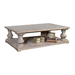 Uttermost Stratford Rustic Cocktail Table - Solidly constructed of salvaged fir lumber and hand turned balusters. Sun faded and distressed patina is finished with a stony gray wash. Solidly constructed of salvaged fir lumber and hand turned balusters. Sun faded and distressed patina is finished with a stony gray wash.