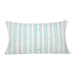 Indochine Friendship Stripe Pillow,White/Robins Egg