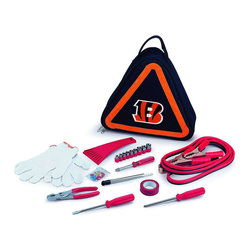 "Picnic Time - Cincinnati Bengals Roadside Emergency Kit in Black - The Roadside Emergency Kit by Picnic Time will give you peace of mind knowing that you're prepared when an unexpected auto emergency arises. The kit features a triangular-shaped tote with carry handle that doubles as a reflective hazard warning sign and contains essential tools for roadside emergency repair, including: 1 set of jumper cables (8.2-ft long, 15-gauge copper with laminated instructions tag affixed to the cables), 1 heavy-duty plastic ice scraper, 1 tire-pressure gauge, 1 9-piece ratchet set (socket sizes ranging from 3/16"" to 1/2"") with rigid hand driver, 1 pair of standard slip-joint pliers, 1 flathead screwdriver (7-1/4""), 1 Phillips screwdriver (7-1/4""), 1 roll of red electrical tape, blade-style automotive fuses: (1) 10 amp, (2) 15 amp, and (1) 20 amp, 1 pair of white work gloves (woven heavy-duty cotton blend), and insulated ring and spade terminals (3 of each). Makes a great gift for any car owner.; Decoration: Digital Print; Includes: 1 set of jumper cables (8.2-ft long, 15-gauge copper with laminated instructions tag affixed to the cables), 1 heavy-duty plastic ice scraper, 1 tire-pressure gauge, 1 9-piece ratchet set (socket sizes ranging from 3/16"" to 1/2"") with rigid hand driver, 1 pair of standard slip-joint pliers, 1 flathead screwdriver (7-1/4""), 1 Phillips screwdriver (7-1/4""), 1 roll of red electrical tape, blade-style automotive fuses: (1) 10 amp, (2) 15 amp, and (1) 20 amp, 1 pair of white work gloves (woven heavy-duty cotton blend), and insulated ring and spade terminals (3 of each)"