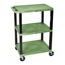 H. Wilson - Tuffy 18 in. Utility Cart in Green - Includes four heavy duty 4 in. casters. Two casters with brake. Three shelves. 12 in. clearance between shelves. Maximum weight capacity: 300 lbs.. Made from high density polyethylene structural foam molded plastic. Made in USA. 24 in. L x 18 in. W x 34 in. H (24.2 lbs.). Warranty. Assembly Instructions