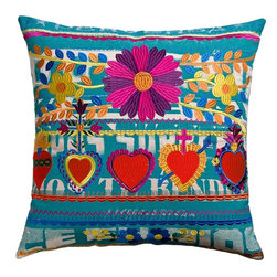 """Koko Mexico Pillow 22"""" x 22"""" - Mexican Fiesta! Flaming hearts and tactile daisies. Bold symbols of the living and the dead. Relax. All products by The Koko Company reflect their love for natural fabrics, and the manufacturing is closely monitored to ensure fair wages and compliance with strict social and environmental standards. Eagle Print Embroidery"""