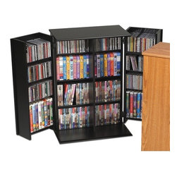 Prepac - Deluxe Multimedia Storage Cabinet - Prepac''s multimedia collection represents the most complete assortment of high capacity multimedia storage in the world. Every product has been designed and engineered to accommodate large capacities of CDs, DVDs, videos and cassettes. Attractive finishes, curved edges, quick-assembly fasteners and unique protective packaging make Prepac the undisputed champion in this new and exciting high growth category. This Locking Media Storage Cabinet keeps modest collections safe from prying eyes and sticky fingers! Fully adjustable shelves can be set to any position to accommodate your collection, and horizontal media storage enables easy sorting, filing and re-filing of your collection as it grows. Off-set hinge points allow 180 movement for better display and access to door storage. Includes antique brass finished handles (Oak), or contemporary brushed nickel handles (Black, Cherry). Features: -Locking doors.-Adjustable shelves.-Horizontal media storage.-Off-set hinge points provide 180 degree movement.-Distressed: Yes.-Collection: Deluxe.-Country of Manufacture: Canada.Specifications: -Holds 376 CDs, 192 DVDs, 114 videos or 102 Disney videos.Dimensions: -Overall Product Weight: 58 lbs..Warranty: -5 year manufacturer''s limited warranty. About the Manufacturer: About Prepac: Founded in 1979, Prepac Manufacturing is a state-of-the-art manufacturer of home furnishings and storage products with its main manufacturing factory located in the heart of the forest-rich province of British Columbia, Canada. Prepac is now one of the largest producers of ready to assemble furniture in Canada, with full-service representation throughout North America. To ensure our customers receive outstanding design and quality at competitive prices, Prepac''s design, engineering, production, testing and packaging are all done in-house.