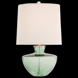 Arteriors - Misha Half Crackle Glass Table Lamp by Arteriors - The base appears as an antique glass jar, its crackled design and sea foam green color giving it almost an ancient Mediterranean feel. Featuring a 3-way switch, the Arteriors Misha Half Crackle Glass Table Lamp offers modern convenience in an attractive, unique look.Since 1987, Texas-based Arteriors has paired timeless concepts with a nod to the latest looks, offering home lighting with unique character and enduring presence. The lighting from Arteriors is ideal for both transitional interiors and modern homes, capturing a flavor that reflects the trends and traditions of lighting design across the world.The Arteriors Misha Half Crackle Glass Table Lamp is available with the following:Details:Flared Off-White linen shadeHalf Crackle glass base3-way switchUL ListedLighting: One 150 Watt 120 Volt Incandescent lamp (not included).Shipping:This item usually ships in 5 days.