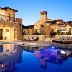 Marvin - Pool and Guest House - This gorgeous pool is complimented by a stunning guest house with Marvin Lift and Slide doors on the 1st and 2nd stories.  Davis and Associates designed this beautiful home and guest house.