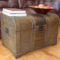 None - Old Fashioned Walnut Large Treasure Chest Wood Trunk - Enhance your existing decor with the Old Fashioned Walnut Treasure Chest Trunk from Styled Shopping to provide large storage space in your area. This beautiful wood trunk features old fashioned hardware for an antique finish.