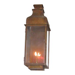 St. James Lighting - Sarasota Large Copper Wall Mount Lantern - Sarasota Large Copper Wall Mount Lantern. The Sarasota Lantern provides several different options for placement and operation. It can be mounted on the wall with several different wall mounts to choose from or mount it from the ceiling for a romantic touch. This lantern can even be placed on a stand alone post! For an open flame and a more natural look, natural gas or propane gas can be used. A light switch or other device can be used to automatically light the Madison. If you decide on electric lighting, choose from a Edison Socket or a Candelabra Cluster for the lighting display.
