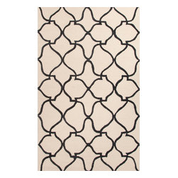 Jaipur Rugs - Hand-Tufted Moroccan Pattern Polyester Ivory/Black Area Rug ( 7.6x9.6 ) - A youthful spirit enlivens Esprit, a collection of contemporary rugs with joie de vivre! Punctuated by bold color and large-scale designs, this playful range packs a powerful design punch at a reasonable price.