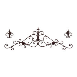 Wrought Iron Scroll Headboard Curtain Set - Set of 3 - *Wrought iron scrollwork lends this curtain set an air of authenticity and antique charm.