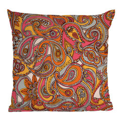 DENY Designs - DENY Designs Valentina Ramos Spring Paisley Throw Pillow - Funky-fresh style designed for you.  Make a bold statement with the vibrant DENY Designs Valentina Ramos Spring Paisley Throw Pillow, featuring bright oranges, pinks, yellow, black, and white. The company works with art communities and artists from around the world to create interesting, unique pillows for modern life. Your sofa won't look the same ever again!Woven polyester coverConcealed zipperCustom printed for every orderDesigned by Valentina Ramos