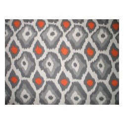 "Close to Custom Linens - 22"" Full Bedskirt Tailored Adrian Orange Grey Beige Geometric - Adrian is a contemporary medium scale geometric in grey and orange on a neutral beige linen-textured background"