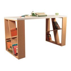 DECORTIE - HONEY WORKING DESK / OFFICE TABLE, White - Oak - Sophistication...