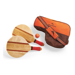 Frontgate - Tommy Bahama Paddle Set - Paddles crafted from beautifully inlaid wood. Thick, soft grips for extra comfort and a secure grip. Includes two paddles and one ball. Stores neatly in the included embroidered Tommy Bahama carrying bag with a padded shoulder strap. With just a few feet of open sand and this deluxe paddle ball set, you have everything you need for hours of fun at the beach.  .  .  .  .