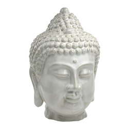"Cyan Design - Buddha Bust - Our Buddha Bust is perfect for adding a zen feeling to your contemporary home, office or garden. Finely crafted of ceramic with an off white glaze finish, this contemplative sculpture is excellent for a modern bookshelf display or tabletop decor. It's ceramic construction lends it to outdoor use as well. The Buddha Bust is a great gift for the cosmopolitan hostess or yogi, or for your own meditative modern decor. ""Do not dwell in the past, do not dream of the future, concentrate the mind on the present moment."" - Buddha"