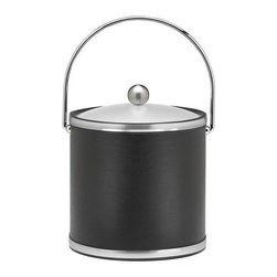 Kraftware - Sophisticates Ice Bucket in Black w Lucite Cover - Features bale handle and brushed chrome bands. 3 quart ice bucket. Classic black leatherette elegance. Made in USA. 9 in. W x 9 in. D x 9 in. H (3 lbs.)Always as appropriate as a formal Tuxedo at a reception.