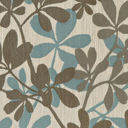 Teal, Taupe and Beige Contemporary Leaves Woven Upholstery Fabric By The Yard - This upholstery jacquard fabric is incredibly unique in design. This jacquard can be used for all indoor upholstery, and is easy to clean and maintain.