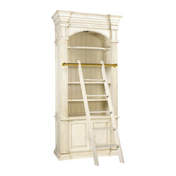 Kathy Kuo Home - Percier French Country White Single Library Bookcase with Ladder - A nostalgic, architectural library shelving unit, complete with portable ladder, holds all of your favorite reading materials and collectibles. Finished in French white, this towering bookcase has four adjustable shelves for customized storage. Two doors in the bottom open to reveal more space and an extra shelf.