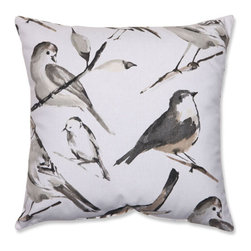 Pillow Perfect - Bird Watcher Charcoal, Black, Taupe Pillow - - Pillow Perfect Bird Watcher Charcoal 18-inch Throw Pillow  - Sewn Seam Closure  - Spot Clean Only  - Finish/Color: Charcoal/Black/Taupe  - Product Width: 18  - Product Depth: 18  - Product Height: 5  - Product Weight: 1.5  - Material Textile: Cotton/Poly Blend  - Material Fill: 100% Recycled Virgin Polyester Fill Pillow Perfect - 512358