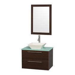 Wyndham Collection - 30 in. Bathroom Vanity Set - Includes mirror, bone porcelain sink, drain assemblies and P-traps for easy assembly. Faucet not included. Unique and striking contemporary style. Modern, truly elegant wall mount design and clean lines. Delivers beautiful wood grain exteriors offset. Provides a full complement of storage areas behind sturdy soft-close doors and drawers. Perfect for small bathrooms and powder rooms. Engineered for durability and to prevent warping last a lifetime. Plenty of storage space. Wall-mounted vanity. Green glass counter top. Distinctive vessel sinks or sleek integrated counter. Modern brushed chrome door pulls. Two functional and deep doweled drawers. Soft close door hinges and drawer glides. Fully-extending soft-close drawer slides. 0.75 in. glass thickness. Single-hole faucet mount. Metal exterior hardware with brushed chrome finish. Eight stage preparation, veneering and finishing process. Highly water-resistant low V.O.C. sealed finish. Made from beautiful veneers over highest quality grade E1 MDF. Espresso finish. Minimal assembly required. Cabinet weight: 63 lbs.. Counter weight: 43 lbs.. Sink weight: 50 lbs.. Mirror: 23.75 in. W x 33 in. H (17 lbs.). Vanity: 30 in. W x 20.5 in. D x 20.25 in. H. Handling Instructions. Vanity Installation Instruction. Mirror InstallationAesthetic meet affordability in the Wyndham Collection Amare Vanity. you'll never hear a noisy door again! the attention to detail on this elegant contemporary vanity is unrivalled. It leaves space in your bathroom for you to relax. The simple clean lines of the Amare wall-mounted vanity family are no-fuss and all style.