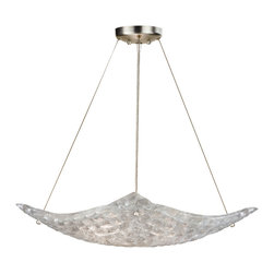 Fine Art Lamps - Constructivism Square Pendant - Constructivism Square Pendant features Moonlit Mist clear glass pillow-shaped pieces, fused at high temperature in a hand-laid cobblestone pattern. Exposed metal in hand-applied silver leaf. Available in three sizes. 60 watt, 120 volt B10 type Candelabra base incandescent bulbs are required, but not included. Made in the USA. Small: 22 inch width x 5.5 inch height x 72 inch maximum length. Medium: 27 inch width x 4.5 inch height x 72 inch maximum length. Large: 31.75 inch width x 6.5 inch height x 72 inch maximum length.