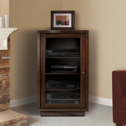 Bell O - Bell'O Media Storage Cabinet - Dark Espresso Dark Brown - ATC402 - Shop for Cabinets from Hayneedle.com! The clean contemporary style of the BellO Media Storage Cabinet - Dark Espresso is the ideal piece for living room bedroom and office decors. Keeping all of your media systems organized this storage cabinet is durably constructed of solid wood and veneers in a dark espresso finish. Behind a wood framed tinted tempered glass door sits four adjustable shelves that provide you with optimal storage space for DVD players consoles DVRs and radios. A cable management system in included and consists of two removable rear panels for easy access of wire and interconnecting cables.About Bell'O InternationalBased in New Jersey the Bell'O corporation has become an industry leader in the world of audio/video furniture. Contemporary Italian style featuring high quality wood glass metal and other sophisticated features are the hallmarks of Bell'O. With award-winning products and continued precise detail and unmatched style ready-to-assemble furniture from Bell'O will add dynamic form and function to your home.