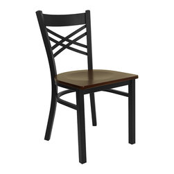 """Flash Furniture - Flash Furniture Hercules Series Black """"X"""" Back Metal Restaurant Chair - Provide your customers with the ultimate dining experience by offering great food, service and attractive furnishings. This heavy duty commercial metal chair is ideal for Restaurants, Hotels, Bars, Lounges, and in the Home. Whether you are setting up a new facility or in need of a upgrade this attractive chair will complement any environment. This metal chair is lightweight and will make it easy to move around. This easy to clean chair will complement any environment to fill the void in your decor. [XU-6FOBXBK-MAHW-GG]"""