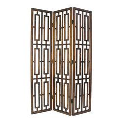 Wayborn - Wayborn Chinese Oakwood Bookmark Room Divider in Brown - Wayborn - Room Dividers - 5306
