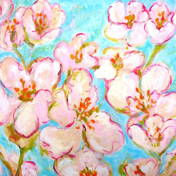 """""""Cherry Blossom, Painting"""" - """"The Winter is long ... And after a very long Winter, Springtime  is coming  very slowly. You could almost see and hear each flower opening over days. I tried to speed this process by painting opened flowers. After a long Winter, I have an imperative need to see Pink, Tender Green, Turquoise ... bright colors ... to exorcise the endless Winter."""""""