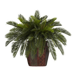 Double Cycas with Vase Silk Plant - If one Cycas is beautiful by itself, then certainly two Cycas will make for a wonderland of greenery! These cheerful plants range from areas found in Asia, Africa, and Europe, but their charm will makes themselves a regular favorite wherever you may live! The decorative vase will only add to that sense of Old World magic, placing the exotic landscapes of the Far East right within your fingertips. Height= 19 in x Width= 30 in x Depth= 24 in