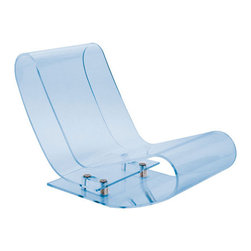 Kartell - LCP Lounge Chair, Sky Blue - Rock the house with this radically cool chaise lounge. It's made from a single transparent piece that folds back upon itself to create a sleek seat. Despite its impalpable, evanescent appearance, this rocker definitely has a soft side—the material is elastic, pliable and sturdy.